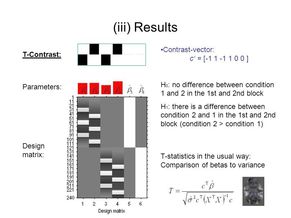 (iii) Results Contrast-vector: c' = [-1 1 -1 1 0 0 ] T-Contrast: